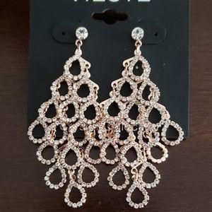 Chandelier rose gold earrings